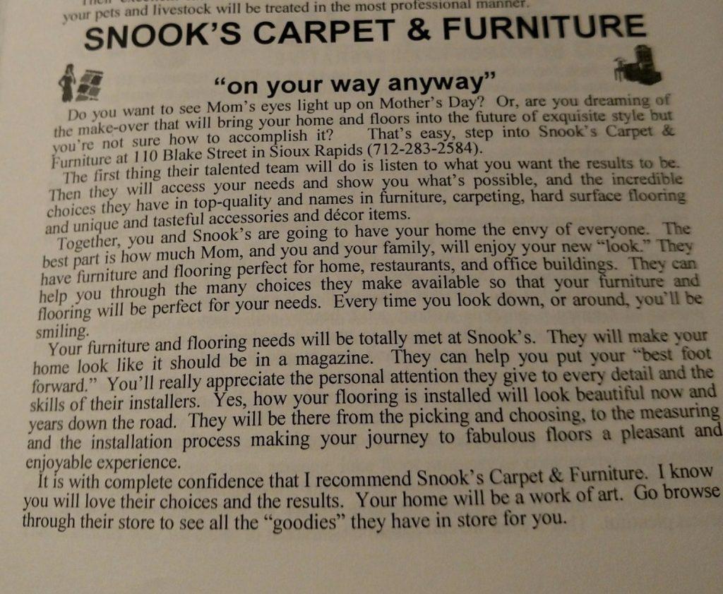 Snook's Carpet & Furniture Sioux Rapids, Iowa